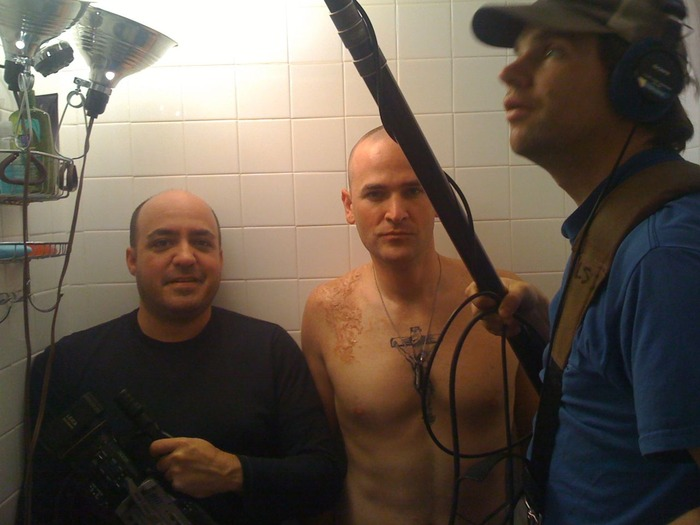 A tight squeeze - the crew in my shower