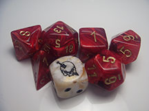 Chessex dice in Roman red with custom Wild die.