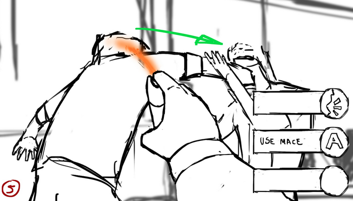 Gameplay Concept Sketch - Non-Lethal Force Being Used