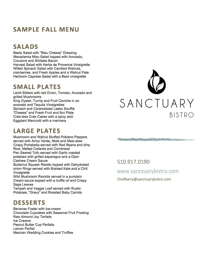 Sanctuary Bistro's Fall Sample menu