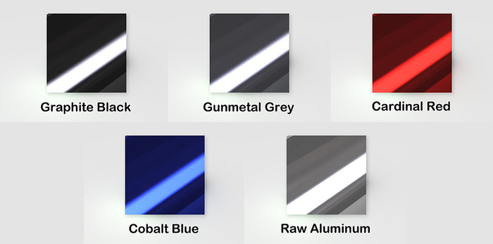 Color swatches (approximate) for the anodized aluminum body