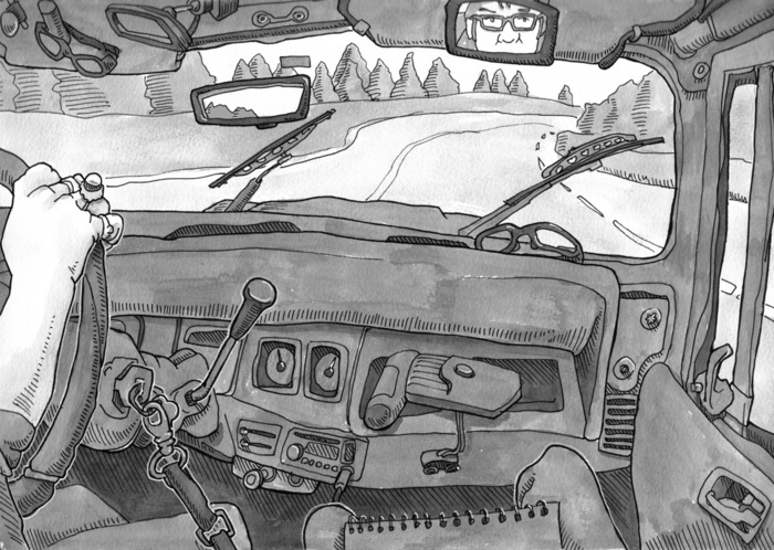 Jeep Ride, Tacoma. India Ink.