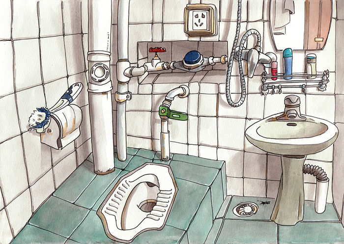 Chinese WC, Jingdezhen. Watercolor.