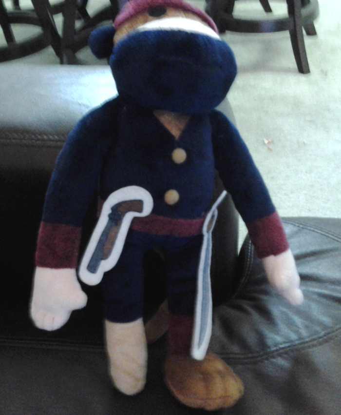 The prototype of the Pirate Ninja Monkey Plush.