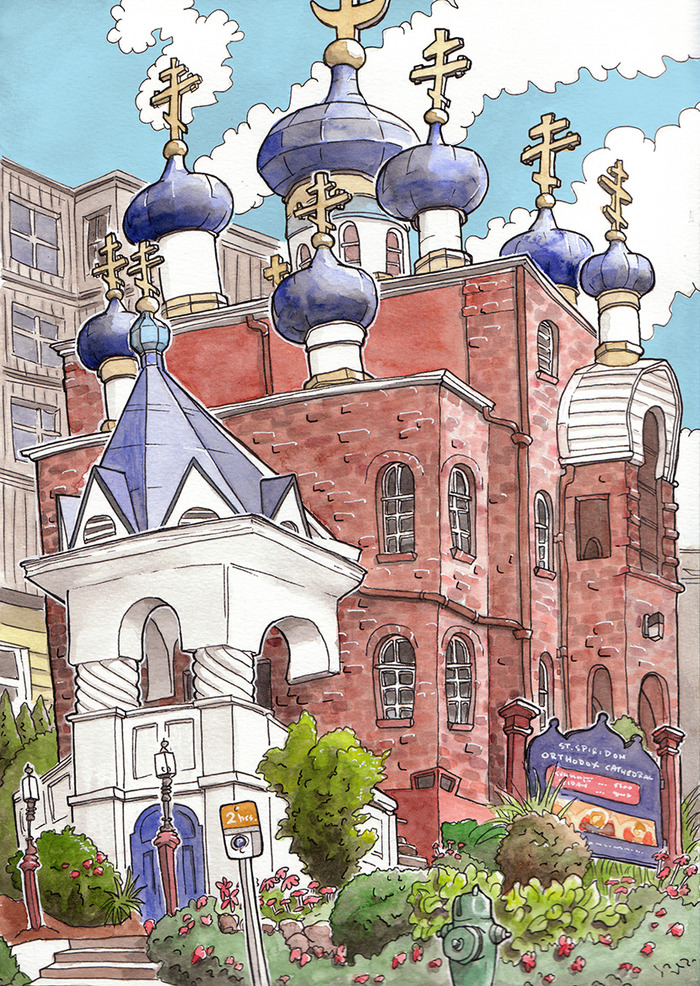St. Spiridon Orthodox Cathedral, Seattle. Watercolor.