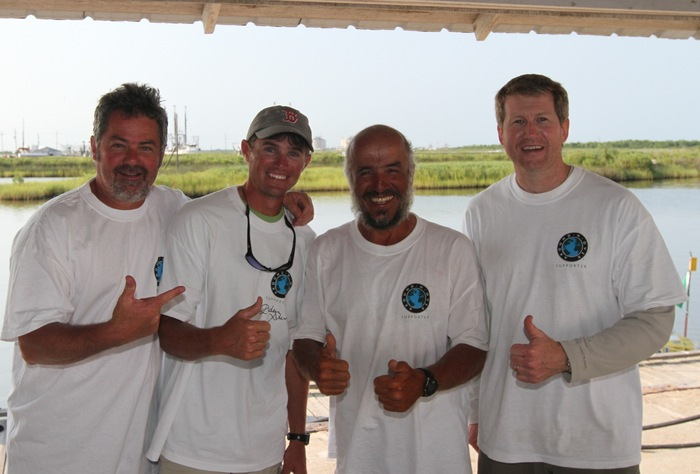Around-n-Over t-shirts, featuring Graeme Welsh (Director), Matthew Spicer (expedition host in Hackberry, Louisiana), Erden Eruç, Bill Hinsley (Chairman)