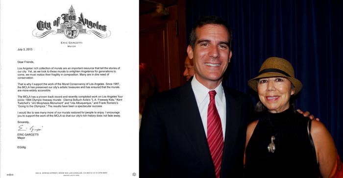 (Mayor Eric Garcetti & MCLA Executive Director Isabel Rojas-Williams)