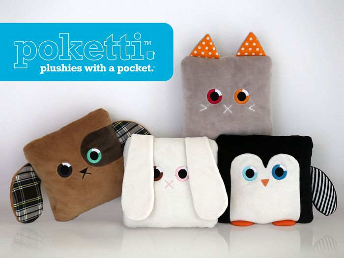 Poketti Series1 includes Sydney the Penguin, Toni the Bunny, Baxter the Puppy and Roxi the Kitty.
