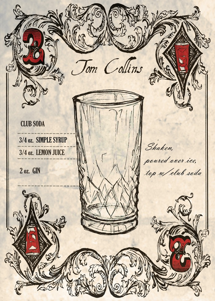 Another number card showing a classic gin cocktail