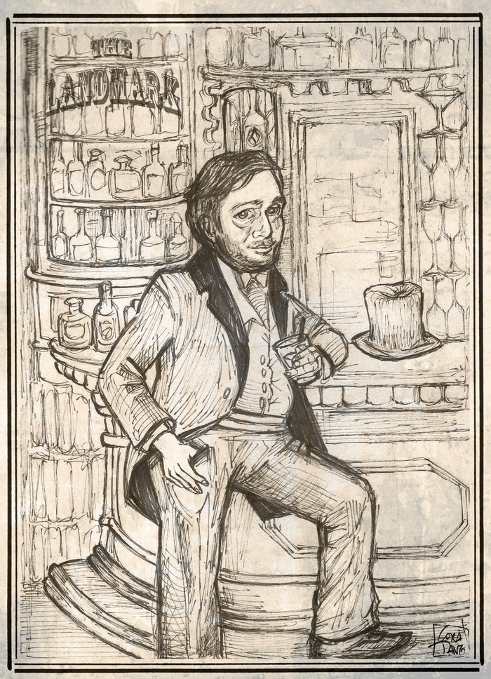 "Early Sketch Of Thomas Tippins ""the world's first bar fly"""