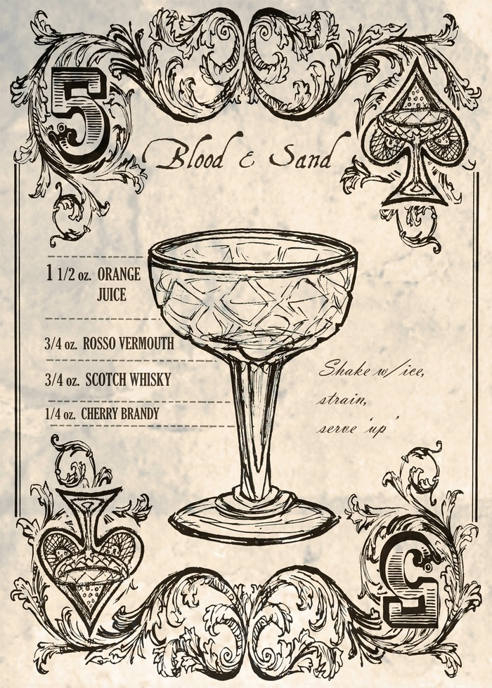 "Early Sketch of a classic scotch cocktail the ""blood and sand"""