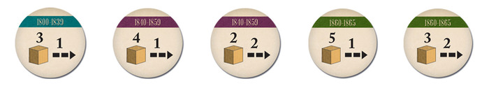 Conductor Tokens: The number above the cubes designate how many slaves the player can move, followed by how many spaces each slave can move forward.