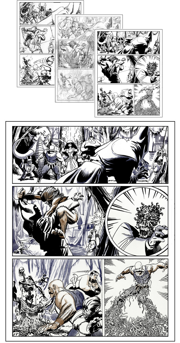 A sample page in various stages: from thumbnail to ink wash before color and lettering is applied.