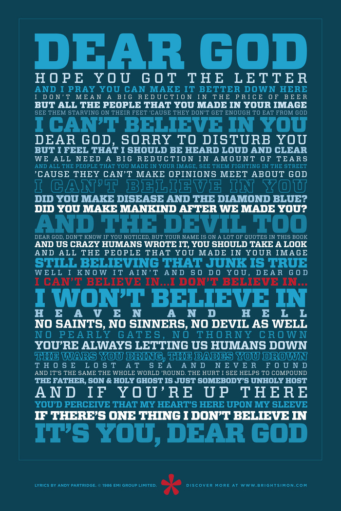 "This ""Dear God"" poster includes the lyrics from XTC's 1986 song, written by Andy Partridge. It's 24x36 inches and shipped safely rolled in a tube. (Lyrics used by permission.)"
