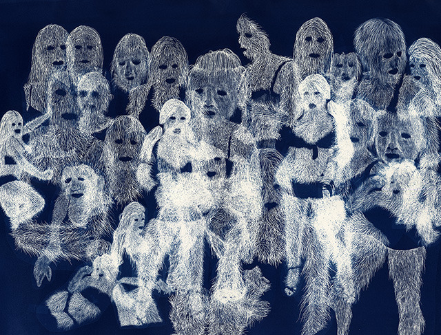 "$2,000 – ""Untitled"" by Erik Mark Sandberg – cyanotype drawing (unique), 22""x30"" inches + Set Visit"