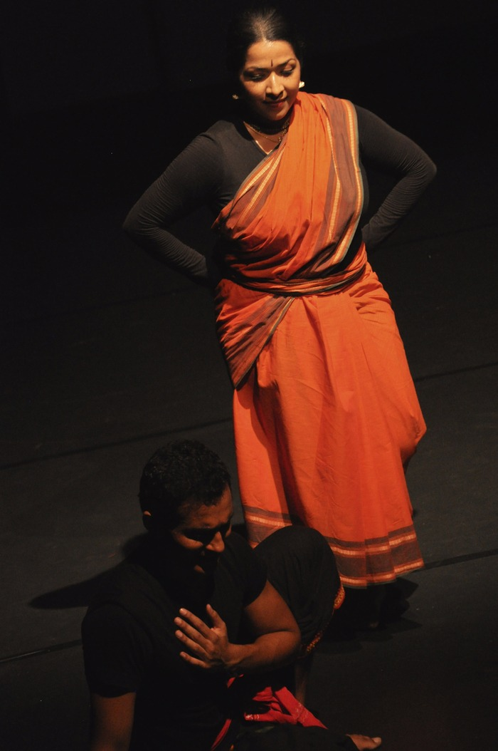 "Jaya Kurian (the cloud) and Arun Mathai (the yaksa) during a work-in-progress showing of ""The Cloud Messenger"""