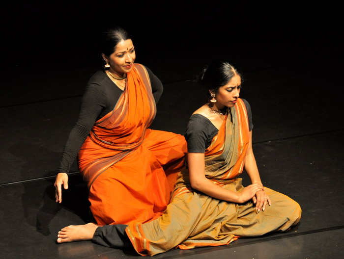 "Nadhi Thekkek (the yaksha's beloved) and Jaya Kurian (the cloud) during a work-in-progress showing of ""The Cloud Messenger"""
