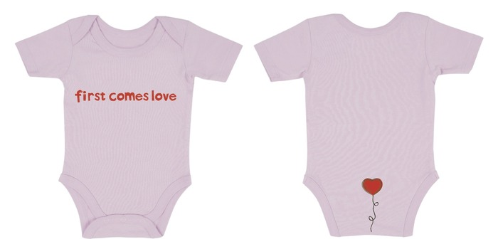 NEW! American Apparel Onesie (Blue & Pink). 100% organic cotton, water-based ink -- smooth as a newborn baby. Designed by Missy O'Gara.