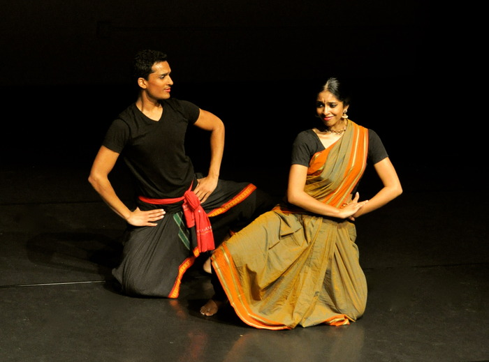 "Arun Mathai and Nadhi Thekkek during the work-in-progress showing of ""The Cloud Messenger"""