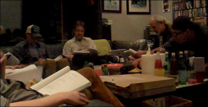 AMG Table Read. JON GRIES in the blue hat and our good friend PATRICK WARBURTON (in the hat on the right stealing a chip) helping us out at a recent table read.