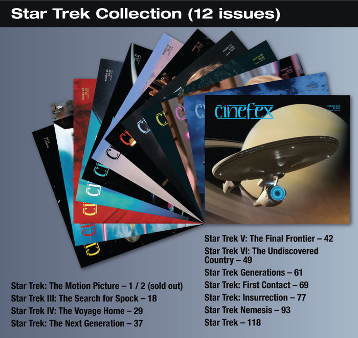 For the $35 backer level, you will be able to download to your iPad, these 12 issues of Cinefex on Star Trek.