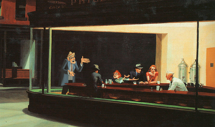 "Walt and Grandpa argue in Hopper's ""Nighthawks"" (concept art)"