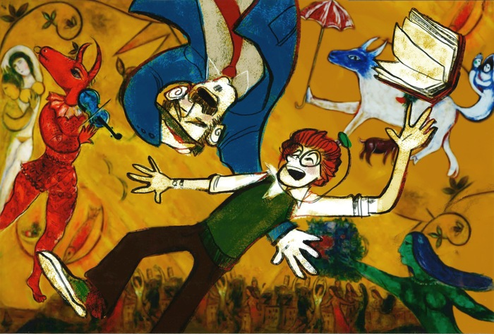 "Floating in a Chagall (the ""rules"" or ""physics"" of the painted worlds change according to their own logic) -- love this one."