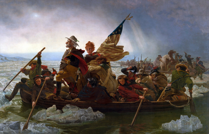 Crossing the Delaware (Grandpa disguised at Washington)