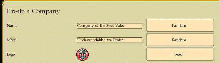 Some of the Creative Tiers allow you to put a name of a company or its motto into a random pool.