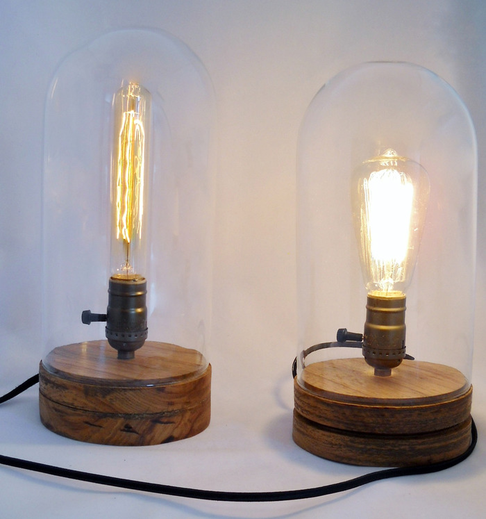"13"" Flush Base Lamp (Left) and 12"" Grooved Base Lamp (Right)"