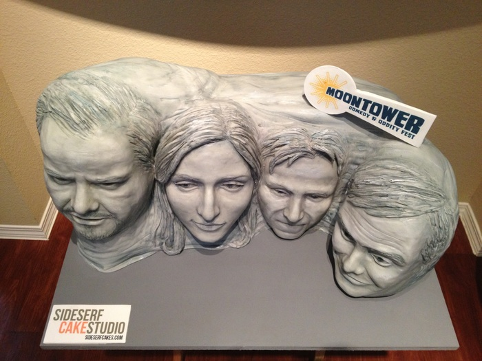 Mount Rushmore-style cake made for Moontower Comedy Festival.