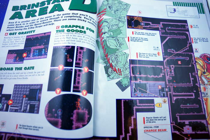 In the Super Metroid guide, for example, artwork and game maps go hand-in-hand.