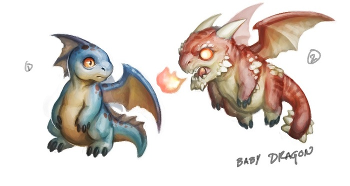 Concept art for baby dragon