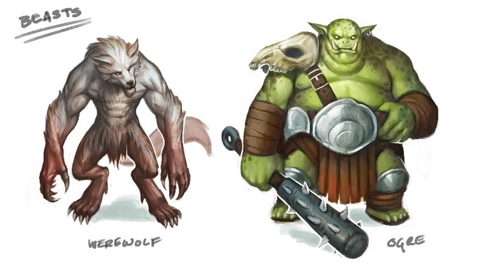 Concept art for Werewolf and Ogre beasts