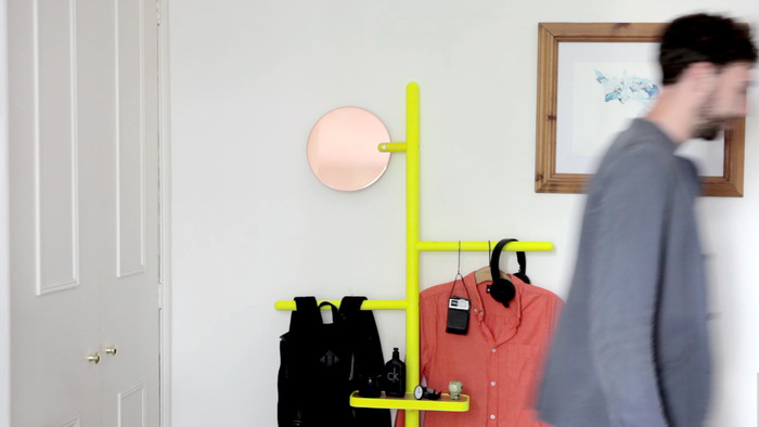 Camerino in fluoro yellow with a copper mirror.