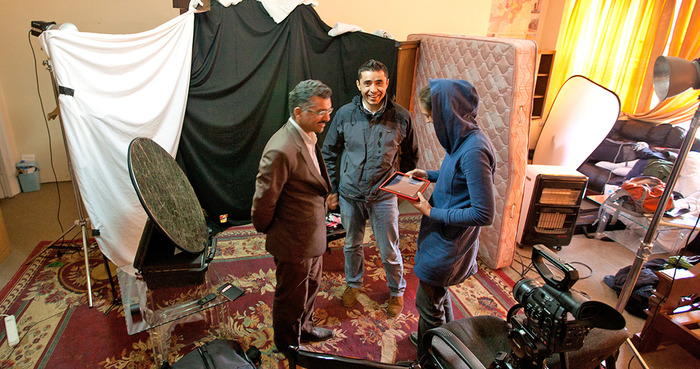 A pop-up studio in Kabul with our wonderful fixer Najib and photographer Wakil Kohsar
