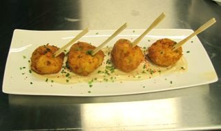 green garlic, salt cod fritters
