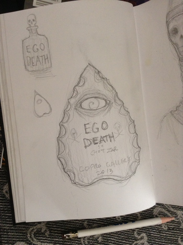 Ego Death poison bottle and talking board planchette design from the Ego Death sketchbook