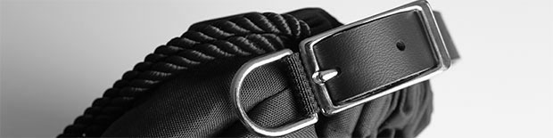 Black Bag, Black Marine Ropes, Black Genuine Leather Straps, Chrome Finishes.