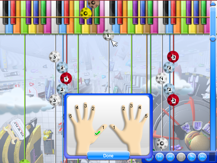For quick deep learning, add finger numbers to the game objects, or note names, to sing along.
