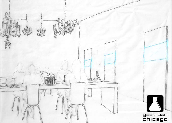 One artist's rendition of a typical Geek Bar day! Communal tables great for gaming or working on projects, TVs showing great geeky shows, and even chandeliers with hanging action figures!