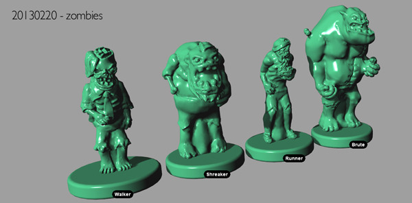 3d renderings for zombie mini prototypes