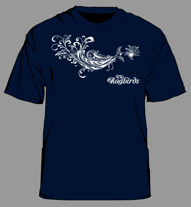 Our Exclusive Kickstarter T-Shirt will look something like this.  White ink printed on a navy American Apparel T-shirt