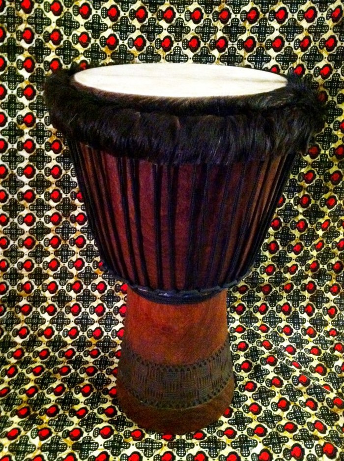 An example of a djembe drum that Randall built (see $450 level)