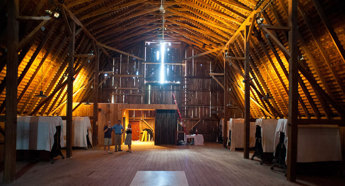 The inside of the barn where the third leg of WOLF will happen.