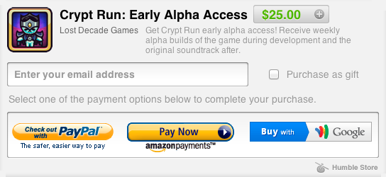 You can now use PayPal to back Crypt Run!