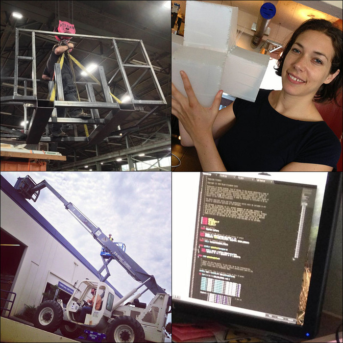 The Cloud in progress. Clockwise: the finished steel platform that we welded, prototypes of the cubes, the type of telehandler we're all being certified of learning how to operate, and a snapshot of the LED software code-writing process.