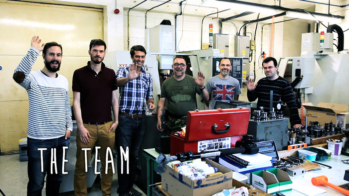 From left to right: Mads (filmmaker), Jamie (editor), Adam (designer), Jim (machinist), Chris (quality expert), Glenn (factory owner)