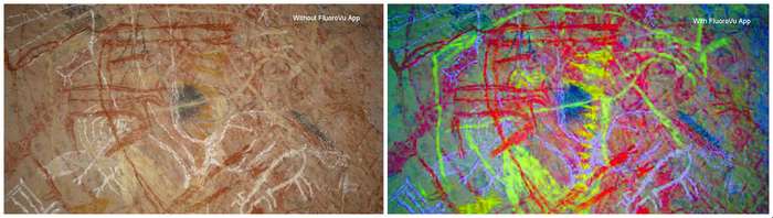Cave Painting.  With and without FluoroVu's Image Enhancement. Note that the UV optics module was not used in this example