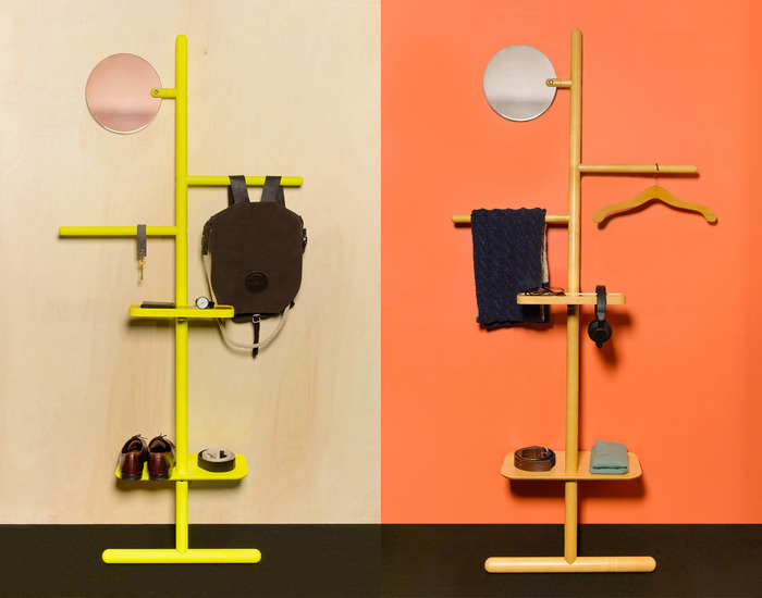 Camerino Valet Stand in fluoro yellow and natural oak with copper or chrome mirrors.